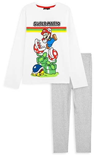 Unbekannt Super Mario Schlafanzug Jungen, Pyjama Kinder Jungen und Mädchen, Baumwolle Teenager und Kinder Schlafanzug 3-14 Jahre, Mario Geschenke für Kinder (Weiß/Grau, 13-14 Jahre)