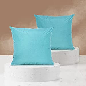 Viste tu hogar Pack 2 Fundas de Cojin 45x45 cm, Algodón y Poliéster, para Decoración de Hogar en Color Azul Turquesa Liso.