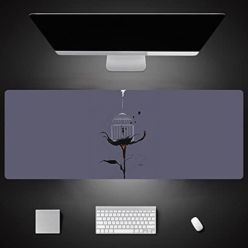 Gray Cartoon Print Mouse Pad Laptop Mat Stitched Edges Gaming Keyboard Desktop Pad 600X300X3Mm