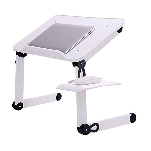 Ergonomic Portable Laptop Riser Aluminum Laptop Stand with Density Board Adjustable Height Compatible with 11'' -17'' MacBook Tablets, White+Black