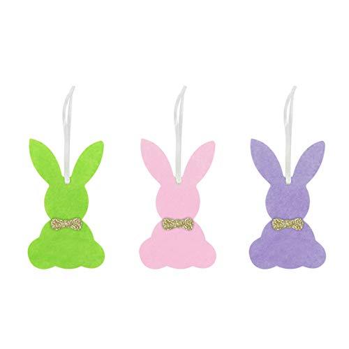 3 x Osterhasen-Anhänger aus Filz, bunte Kaninchen, hängende Ornamente mit Seil zum Aufhängen für Osterpartys