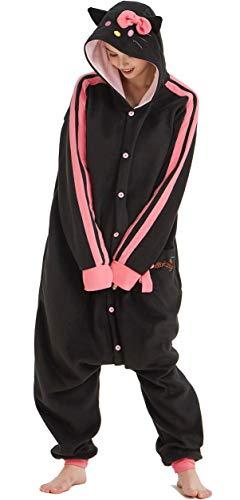 Novelty Pajamas Unisex Hooded Onesie Critters Costumes Pyjamas Black Cat L