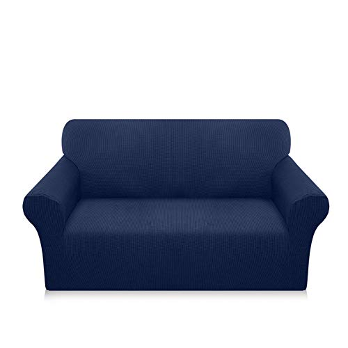 Luxurlife Super Stretch Sofa Covers Stylish Couch Covers for 2 Cushion Couch Upgraded Modern Sofa Slipcover for Dogs Pets Furniture Protector Machine Washable(Medium, Navy Blue)