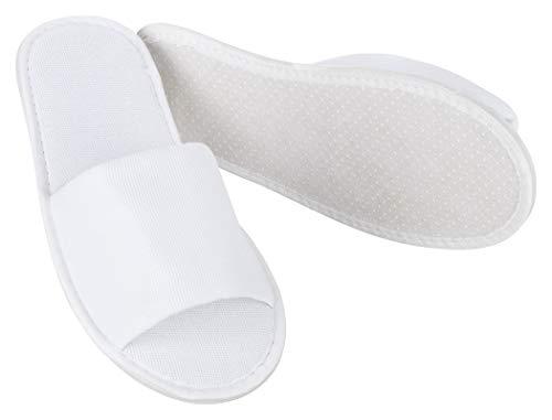 MOON-London Hotelslipper 5 Paar weiß offen Standardgröße, Frottee Slipper Damen und Herren