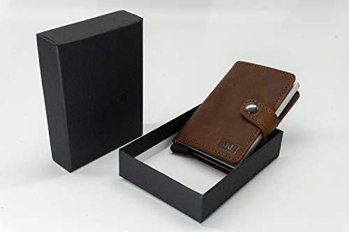 MKL | Mini Geldbeutel | Kartenhalter | Echtes Leder | RFID - Schutz | Platz für Scheine und Münzen (Braun)