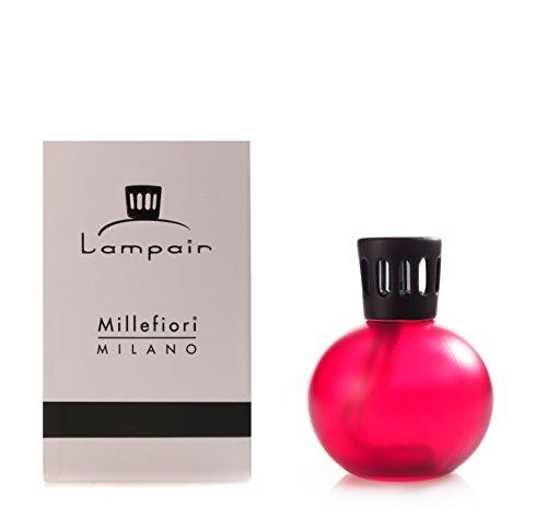 Rosso scuro, a forma di sfera, in vetro smerigliato con lampada catalitica Lampair Millefiori