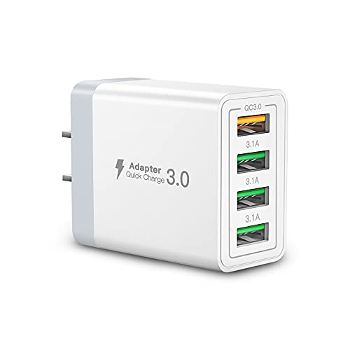 USB Wall Charger Block,Aioneus 40W 4-Port Charging Block White,QC 3.0 Fast USB Wall Plug for iPhone Xs/XS Max/XR/X/8/7/6,Tablets,Charging Cube with Google Pixel,HTC,Galaxy/Note/Edge,LG,Nexus,and More