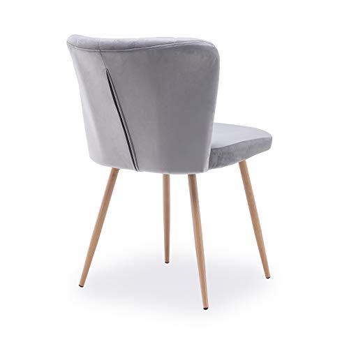 Keebgyy Multistore 2002 - Juego de sillas de comedor con respaldo, asiento de terciopelo, patas de metal, color gris claro