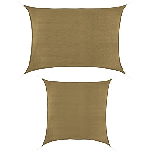 BB Sport Toldo Vela 2m x 3m Capuchino Rectangular Cuadrada HDPE Vela Sombra Protección Rayos UV 90%
