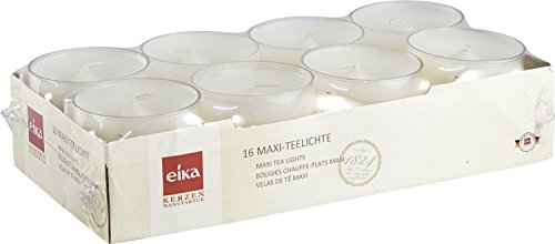 Eika 76362400 Maxi-Teelichte 16-er-Packung/PC-Cup / 2.7 x 5.7 cm/weiß