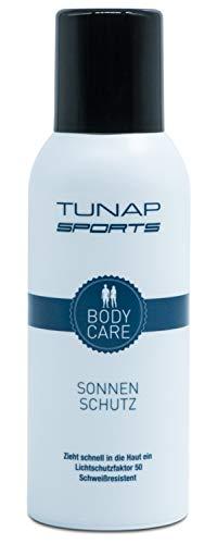 TUNAP SPORTS Sonnenschutz Spray, 150 ml | LFS 50, für Sportler, schweißresistent, wasserfest