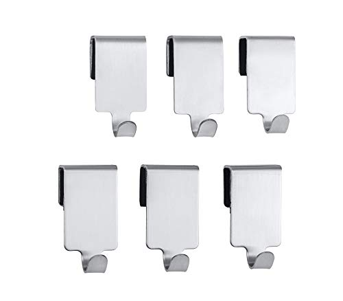 WENKO 6er Set - 6er Set, Küchen-Haken für Reling, Edelstahl rostfrei, 2 x 4 x 2.5 cm, Silber matt