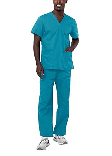 Adar Universal Unisex Pflegebekleidung - Unisex Set mit Kordelzug - 701 - Teal Blue - M