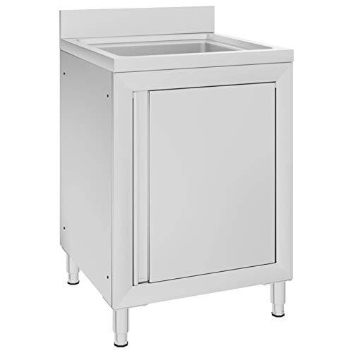 Tidyard Fregadero de Cocina Profesional Mueble de Fregadero Comercial Acero Inoxidable 60x60x96 cm