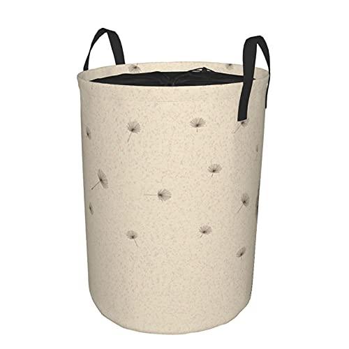 Cesta de almacenamiento, flor de diente de león soplada y pétalos voladores y esponjosos, planta frágil de pradera de jardín, cesto de lavandería grande plegable con asas 21.6'x16.5'