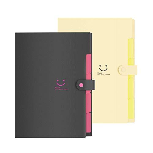 【ドキュメントファイル】 5ポケット かわいい パステルカラー A4 スナップ式 インデックス付き 書類 整理 分類 収納 文房具 事務用品 スマイル 選べる4色 (黒+淡黄色, 32.5 x 23.7 x 2 (cm))
