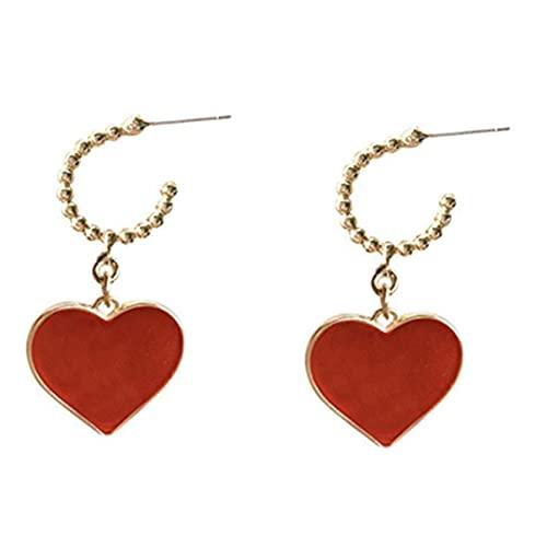 Petrichori 1 par de Pendientes únicos en Forma de corazón para Mujer, Regalo de San Valentín, Pendientes de joyería de Moda para niña, Rojo