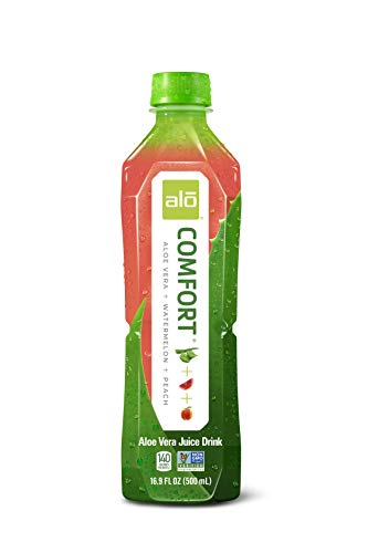 ALO Comfort Aloe Vera Juice Drink, Watermelon + Peach, (Pack of 12) 16.9 Ounce Bottle