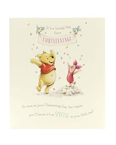 Product Image 1: Congratulations Christening Card – Christening Day Card, Winnie the Pooh and Piglet – Ideal Gift Card for Christening – Disney