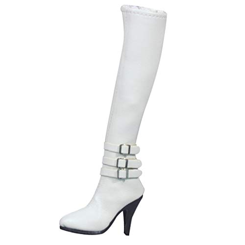1/6 Vrouwelijke Meisjes Hoge Hakken Laarzen Schoenen Met Ritssluiting voor 12 Action Figure Wit