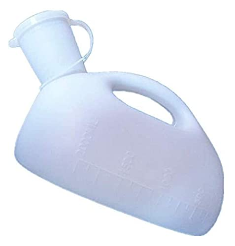 FFAN Orinal Botella Portátil 2000ML Niño Masculino Viaje Orinal Orinal Orinal Botella Recipiente De Drenaje Camioneros Cama Ropa De Cama Inodoro De Plástico (Blanco) Urinario Decoration