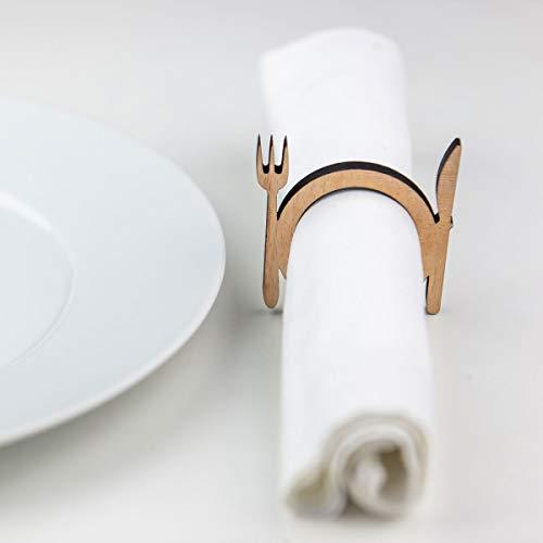 lisel-de Serviettenringe Messer & Gabel aus Holz 4er-Set Serviettenringe für Weihnachten oder Das Ganze Jahr Durchmesser: 4cm