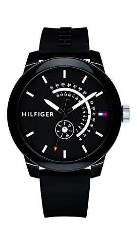Price comparison product image Tommy Hilfiger Men's Denim Quartz Watch with Silicone Strap,  Black,  19.4 (Model: 1791483)