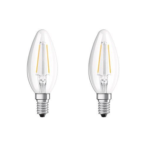 Osram LED Retrofit Classic B Lampe, in Kerzenform mit E14-Sockel, nicht dimmbar, Ersetzt 25 Watt, Filamentstil Klar, Warmweiß - 2700 Kelvin, 2er-Pack