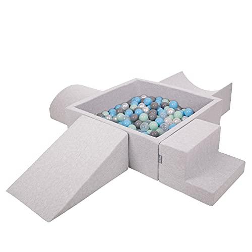 KiddyMoon Spielplatz Aus Schaumstoff Mit Quadrat Bällebad (300 Bälle) Hindernisläufen, Hellgrau:Perle/Grau/Transparent/Babyblue/Minze