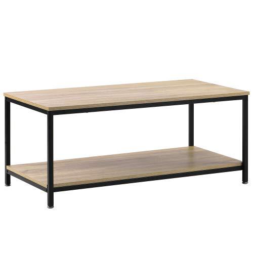 Blendx Mesa de centro para salón, estilo vintage, con estante, estructura de metal de madera, estable