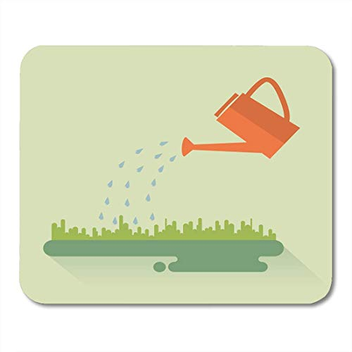 Mauspads Abstrakte grüne Pflanze Flache Farbe Gießkanne Sprays Wassertropfen über Rasen Sprossen Landwirtschaft Mauspad für Notebooks, Desktop-Computer Mausmatten, Büromaterial