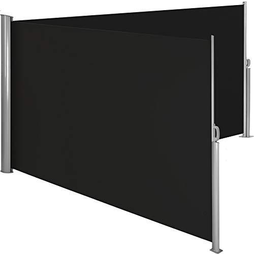 TecTake Doppel- Seitenmarkise Sonnenschutz Sichtschutz Gehäuse und Standpfosten komplett aus Aluminium - Diverse Farben und Größen - (Schwarz | 200x600cm | Nr. 402338)