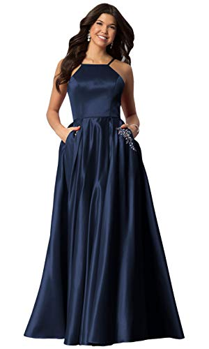 Halter Beaded Formal Evening Party Gown for Women Long Satin Prom Dress with Pockets Navy Blue Size 8