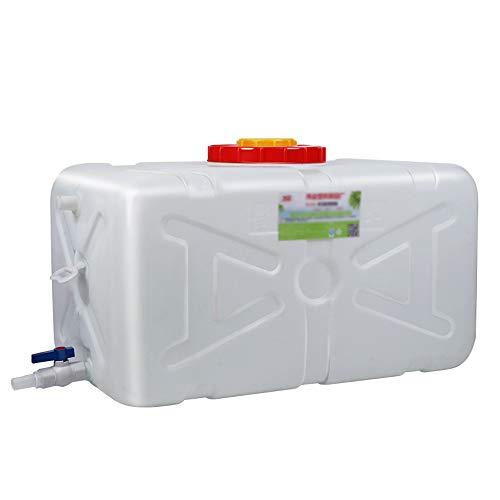 NO BRAND Q-L Hogar de Calidad alimentaria Tanque Grande de plástico Tanque Exterior Rectangular Horizontal Espesa Blanca Tanque de Agua de la Tina Torre de Tapa (Size : 50L)