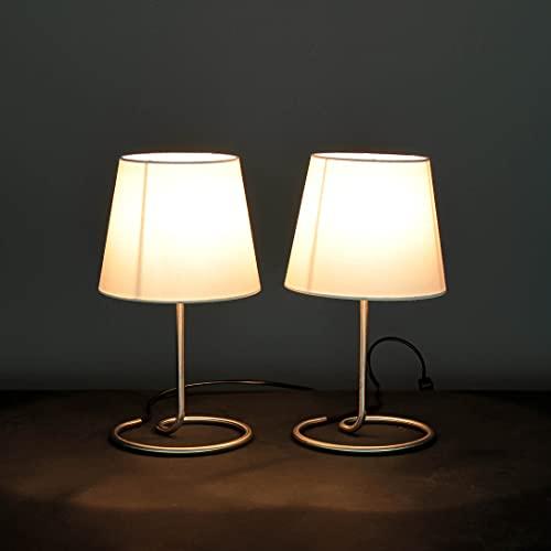 Elegante juego de lámpara de mesa con 2 persianas de metal, color blanco H: 33cm lámpara de noche dormitorio sala de estar