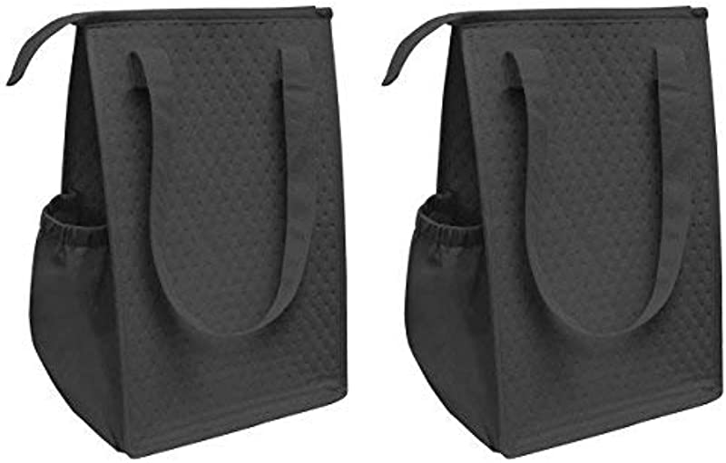 Large Thermo Cooler Tote Lunch Box Lunch Bag Insulated Cooler W Carry Handle Pack Of 2 Black 14