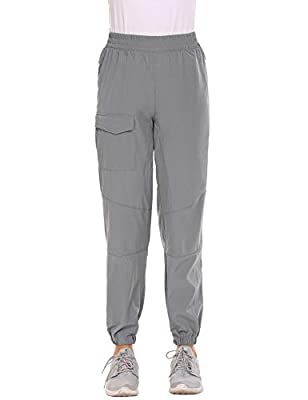 Hiking Pants Quick Drying Outdoor Lightweight Travel Cargo Pants Grey Small