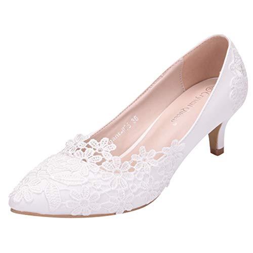 Übergroße Hochzeitsschuhe für Frauen, Damen Weiß Blumen Lace Ballerina Flache Geschlossene Zehe Braut Hochzeit Schuhe,Dorical Pointed Toe Zehen Elegant Flache Brautschuhe 34-43 EU(Z04-Weiß,43 EU)