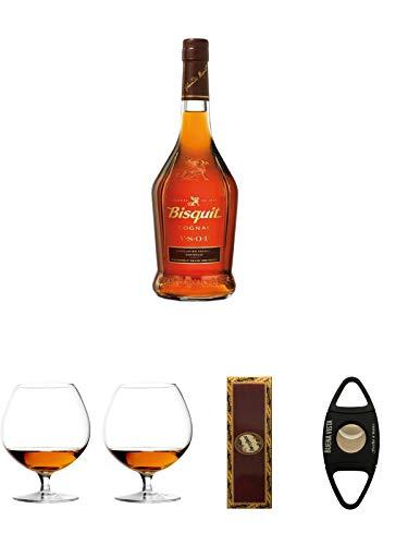 Bisquit VSOP Cognac Frankreich 0,7 Liter + Cognacglas/Schwenker Stölzle 1 Stück - 103/18 + Cognacglas/Schwenker Stölzle 1 Stück - 103/18 + BrickHouse Streichhölzer + Buena Vista Zigarrencutter