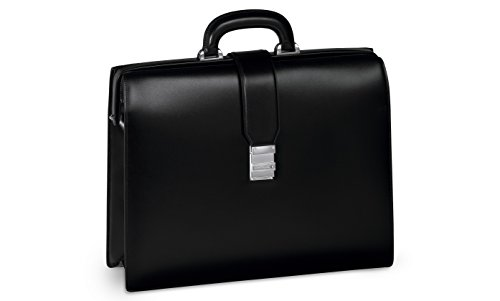 Montblanc Mont Blanc Cuero Negro Single Gusset enmarcado Meisterstuck maletín bolsa 105923