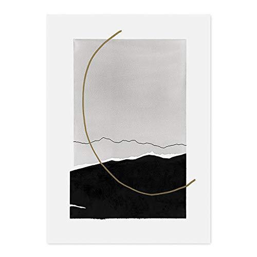 LiMengQi2 Mode Vintage abstrakte Plakate mit Pinsel, Leinwandbilder, Wandkunstdruck Bild für Schlafzimmer, Wohnzimmer, Inneneinrichtung (kein Rahmen)