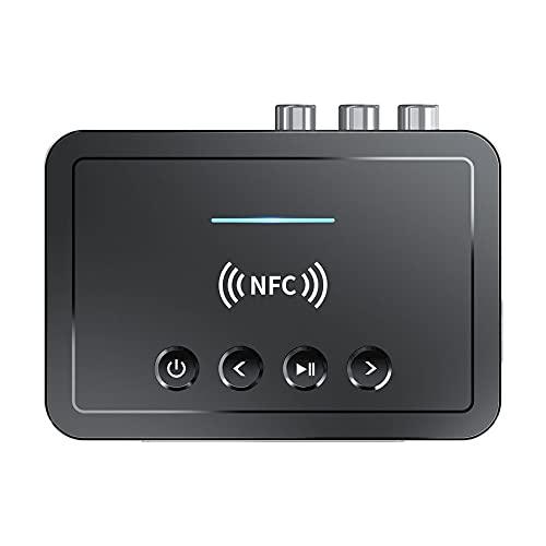 Kuyoly 5.0 Receptor 3 En 1 Transmisor Compacto FM Estéreo AUX 3.5mm Puerto RCA Óptico Inalámbrico Manos Libres Audio Adaptador TV