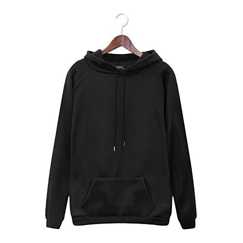 Damen Herbst und Winter Kordelzug Kapuze Casual Sweater Einfarbig Vielseitig locker sitzendes Top mit TaschenX-Large