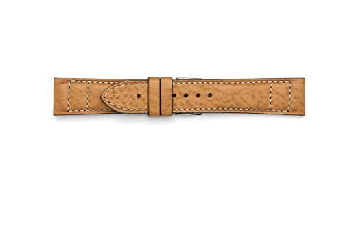Cinturino in cuoio lavorato con doppia cucitura in contrasto (18-16, Gold)