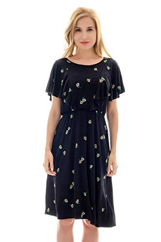 Bearsland Women's Summer Floral Cloak Design Maternity Breastfeeding Dress Nursing Dress,blackyellowf,XL