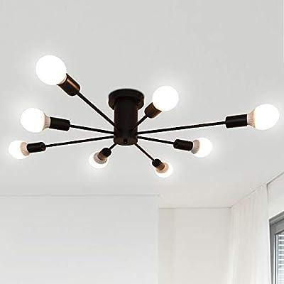 8 Lights Ceiling Light Fixtures Vintage Industrial Metal Flush Mount Light Ceiling Lamp,Black