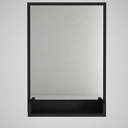 Alphamoebel Costa 4364 - Specchio da parete nero per il bagno, da corridoio, in legno, moderno, con mensola, 45 x 105 x 2 cm