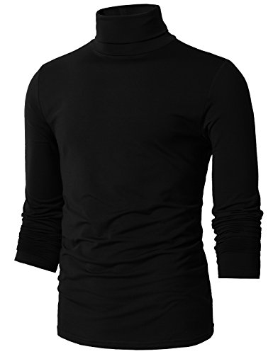 H2H Mens Basic Slim Fit Turtleneck Knit Sweater Black US M/Asia L (CMTTL098)