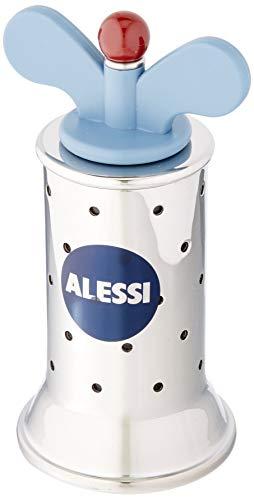 Alessi 9098 - Design Pfeffermühle mit Rippen, Edelstahl und Thermoplastisches Harz, Hellblau
