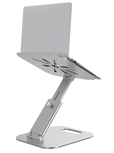 Laptop Stand for Desk, Height Adjustable up to 20' Sit to Stand Ergonomic Computer Stand, Laptop Riser Laptop Holder, Tall Laptop Stand for MacBook, Laptops 10-17', Silver
